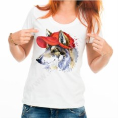 Женская футболка Волчья собака в кепке