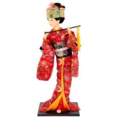 Кукла декоративная Гейша в красном кимоно