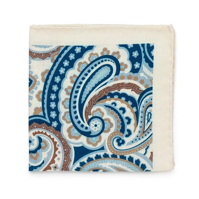 Платок Roda из шерсти, с крупным узором, бело-голубо-коричн.