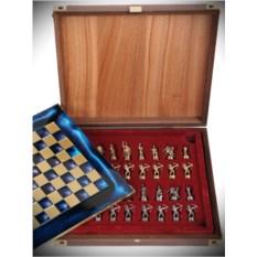 Синий шахматный набор Троянская война