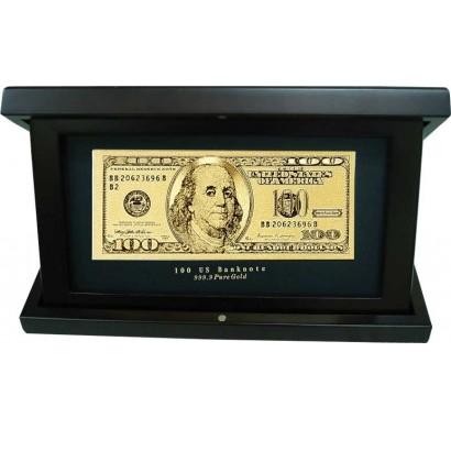 Банкнота 100 USD в деревянной шкатулке
