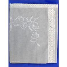 Льняная круглая скатерть с кружевной вышивкой «Берёзка»