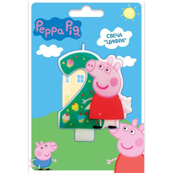 Фигурная свеча «Цифра 2», Peppa Pig