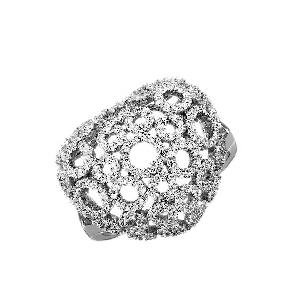Серебряный перстень в форме сердца с фианитами