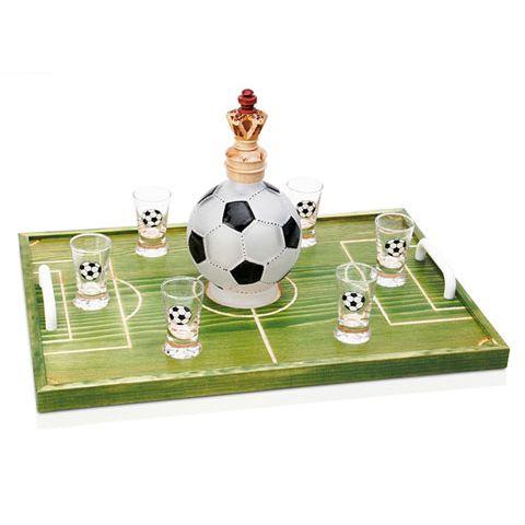Штоф «Король Футбола» с рюмками на подносе