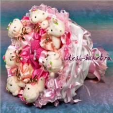 Букет из мягких игрушек С рождением доченьки