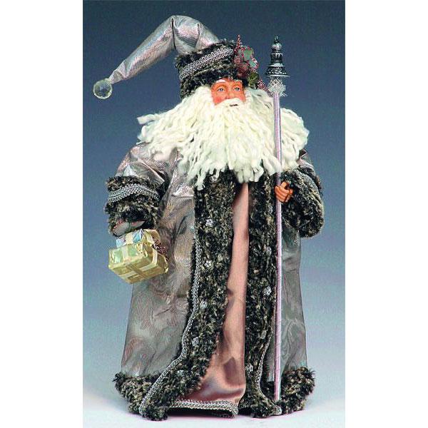 Дед Мороз с посохом серебристо-дымчатый 34 см