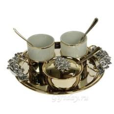 Подарочный кофейный набор с серебром и позолотой