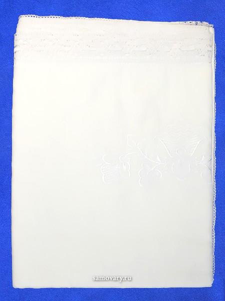 Льняная прямоугольная скатерть с белым Вологодским кружевом