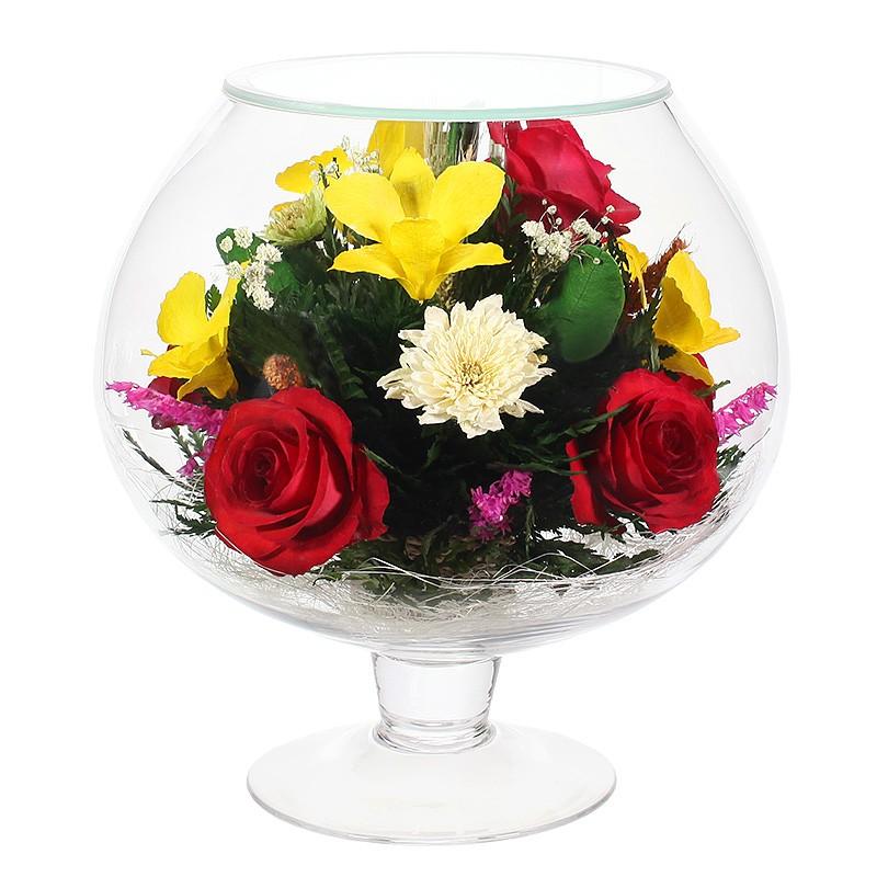 Букет-композиция из орхидей и роз в стекле