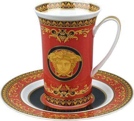 Чайная пара Versace «Medusa» бордовая