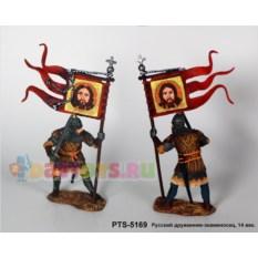 Оловянный солдатик Русский дружинник-знаменосец, 14 век