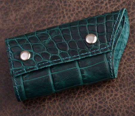 Ключница. Коллекция Vignette (зеленый, крокодил; тип 1; нат. кожа)