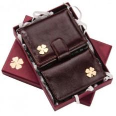 Набор «Счастливый клевер»: кошелек и футляр для визиток