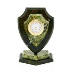 Сувенирные часы Щит (камень: малый змеевик)
