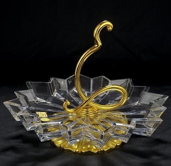 Хрустальная ваза для фруктов с золотым декором Metalbi