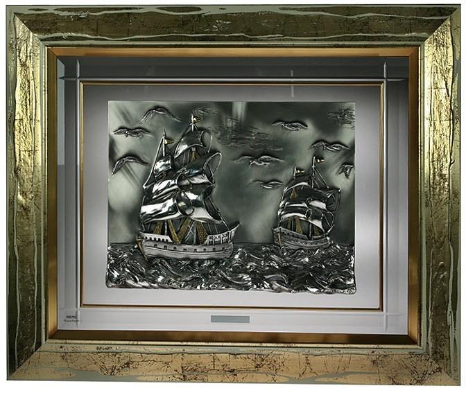 Серебряное панно Парусники в шторм
