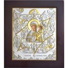 Икона Божьей Матери в серебряном окладе Неопалимая Купина