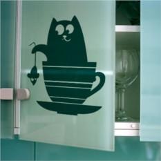 Интерьерные наклейки Кот и кухонная посуда
