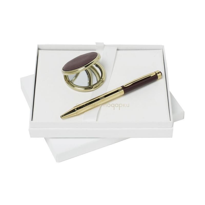 Набор (ручка шариковая, зеркало косметическое)
