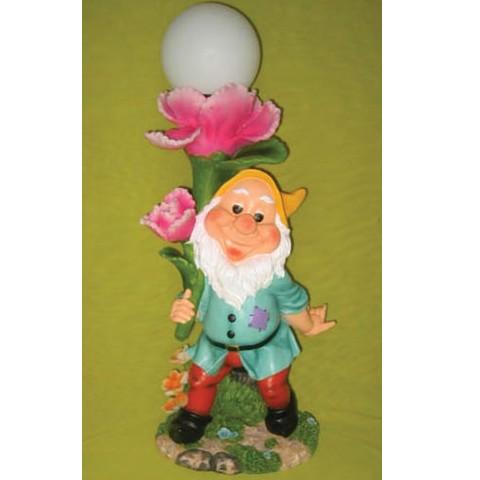 Садовая лампа Гном и розовый цветок