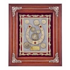 Панно с золотой отделкой Подкова с монетами