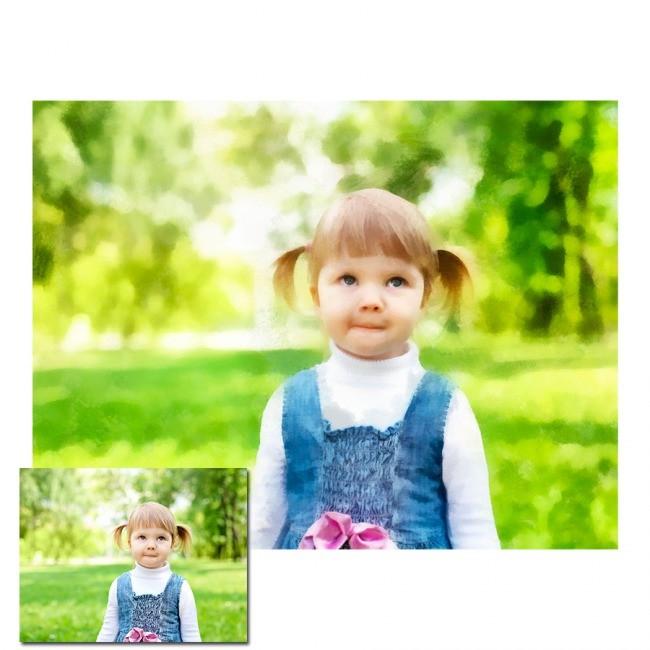 Портрет ребенка в стилизации под акварель