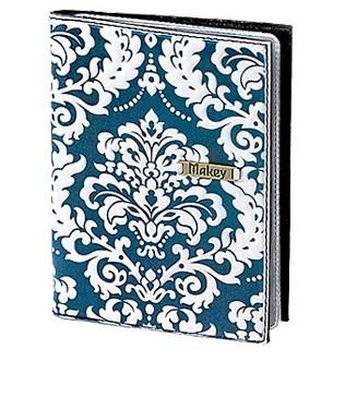 Кожаная обложка для автодокументов (цвет: белый с синим)