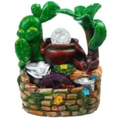 Настольный декоративный фонтан с подсветкой Кактусы