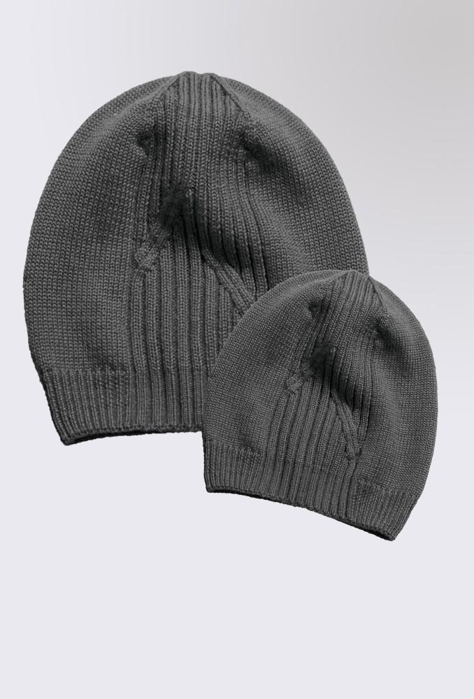Комплект вязаных серых шапок Liverpool для мамы и ребенка