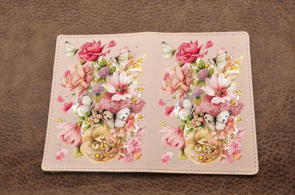 Кожаная обложка для паспорта Весенний букет