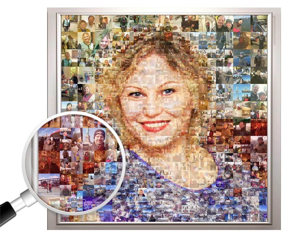 Фотомозаика из ваших фото на юбилей, 40х60 см