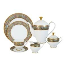 Чайный фарфоровый сервиз из 42 предметов Розовый берег