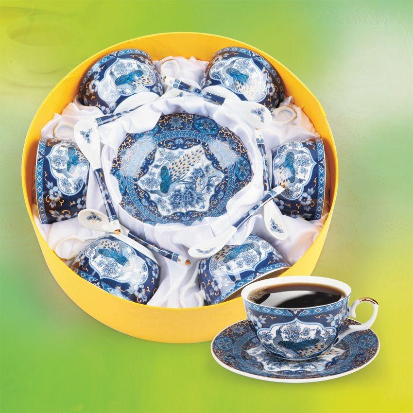 Чайный набор Павлин синий на 6 персон