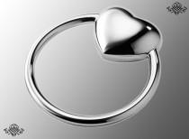Серебряная погремушка Сердце на кольце