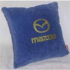 Синяя подушка с золотой вышивкой Mazda