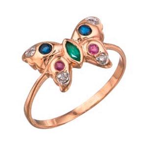 Кольцо с бриллиантом и камнями