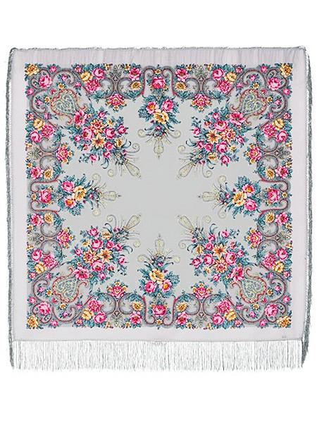 Павлопосадский шерстяной платок с рисунком Рококо