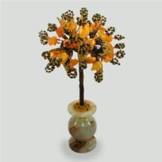 Дерево счастья из сердолика в вазочке из оникса
