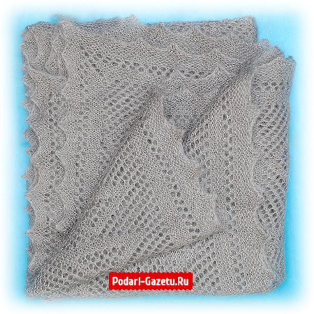 Светло-серый Оренбургский пуховый платок