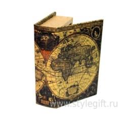 Книга-сейф с замком и ключом Карта мира