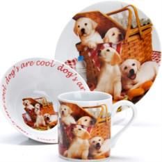 Набор детской посуды 3 предмета Собачки на пикнике