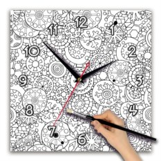 Квадратные часы-раскраска Шары с орнаментом