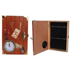 Ключница с часами и объемными деталями на рыбацкую тему
