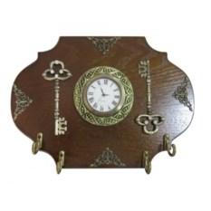 Настенная деревянная ключница с композицией Время