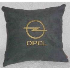 Темно-серая с золотистой вышивкой подушка Opel