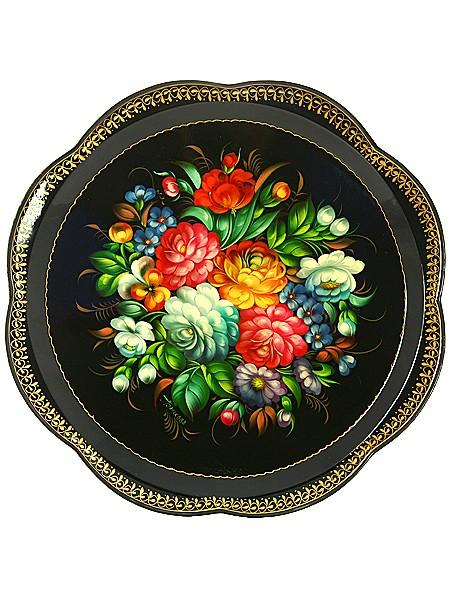 Жостовский поднос с росписью Цветы на черном фоне