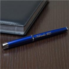 Ручка роллер Parker с гравировкой, цвет синий, глянцевая