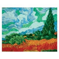 Картина по номерам «Пшеничное поле с кипарисами»