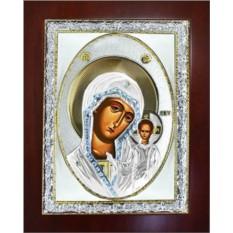 Казанская икона Божьей Матери в серебряном окладе.